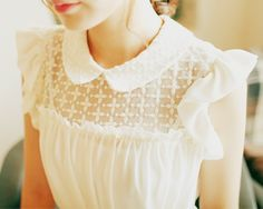 d7e07f0158 World is Mine. White Blouse with Lacy Peter Pan Collar ...