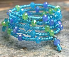 Bead Bracelet in Beach Blues - Boho, Bohemian, wrap bracelet, memory wire, beach wedding, bridesmaid via Etsy $22 at www.Etsy/shop/OwensAcresDesign