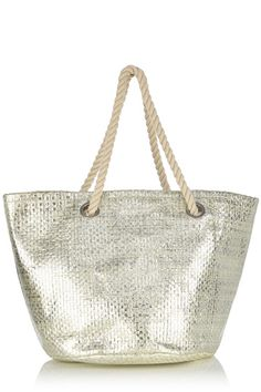 This oversized shopper bag features a metallic woven finish and double rope handles. The piece features a snap button fastening into the main compartment. Shopper Bag, Tote Bag, Tuxedo Cake, Beach Bags, Vegan Fashion, Jute, Oasis, Coin Purse, Purses
