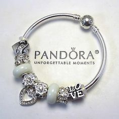 Authentic Pandora BANGLE Bracelet Silver White Love Murano Charm Bead
