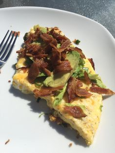 Egg frittata with crumbled bacon on top