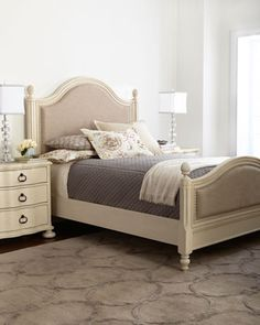 Shop Tristan & Caroline Panel-Bed Bedroom Furniture at Horchow, where you'll find new lower shipping on hundreds of home furnishings and gifts. King Beds, Queen Beds, Cama Queen Size, Classic Bedroom Furniture, White Furniture, Modern Furniture, White Queen Bed, White Headboard, Nailhead Headboard