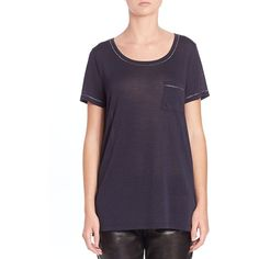 Vince Metallic Trimmed Pocket Tee (180 CAD) ❤ liked on Polyvore featuring tops, t-shirts, apparel & accessories, pocket tops, short sleeve tees, scoopneck tee, scoop neck tee and pocket t shirts