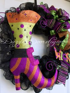 Halloween Witch Boot Wreath Halloween Deco Mesh by DazzleaDoor