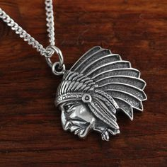 Indian  Head Chief Sterling Silver pendant on by LifeOfSilver, $58.80