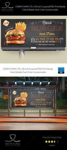 Burger Restaurant Billboard Template Vol.7
