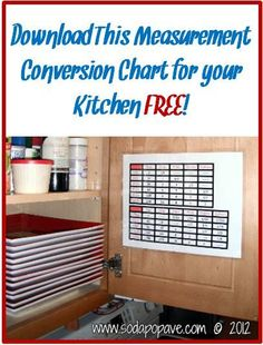 FREE Measurement Conversion Chart download!  Super handy for any kitchen