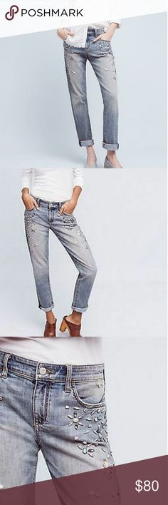 """ANTHROPOLOGIE PILCRO HYPHEN BEJEWELED MIDRISE Details:  Our ever-so-slightly boyish fit with a lived-in slouch that sits just above the hips. From Pilcro, an Anthropologie-exclusive collection crafted from the highest quality denim.  Cotton, spandexRelaxed, straight fitBejeweled front and side seam detailFive-pocket stylingMachine washImported  Style No. 4122581484284  Dimensions  Regular: 9"""" rise 29.5"""" inseam Petite: 8.75"""" rise 27.5"""" inseam Anthropologie Jeans Straight Leg"""