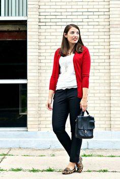 bright cardigan + lace top + black pants + leopard | style on target via @www.shealennon.com