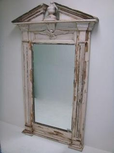 Antique Large White Painted Pine Mirror with Broken Pediment and Spread Eagle Circa 1900, Atlanta Available in Palm Beach Store 561-805-8611