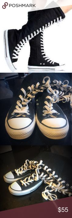 Knee High Classic Converse Awesome condition near new knee high classic converse, size 8 women's. Hardly any wear as seen in the pictures. Inside sole is also clean and sanitized. Make an offer on these near mint knee high chucks! Converse Shoes