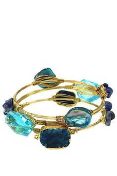 Singing the Blues Wire Wrapped Bangle Set
