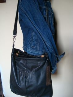 dark brown leather bag//recycled leather by BagsBand on Etsy