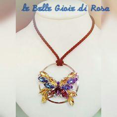 Collana /spilla  Farfalla di strass multicolor su base in metallo  Laccio regolabile in seta nera  Realizzabile in altri colori