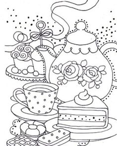 liz yee bw teapot adult coloring pagescolouring pagestea party coloring pagescoloring