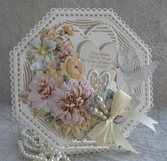 Ideas For Wedding Card Craft Projects Wedding Anniversary Cards, Wedding Cards, Hexagon Cards, Tonic Cards, Tattered Lace Cards, Anna Griffin Cards, Shabby, Shaped Cards, Easel Cards