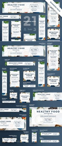 Healthy Food Banner Template PSD, Vector EPS #design #ad