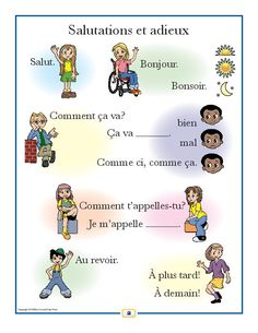 French Greetings Poster - Italian, French and Spanish Language Teaching Posters French Greetings, Italian Greetings, French Language Lessons, French Language Learning, Spanish Language, Foreign Language, Italian Phrases, Italian Words, Spanish Phrases