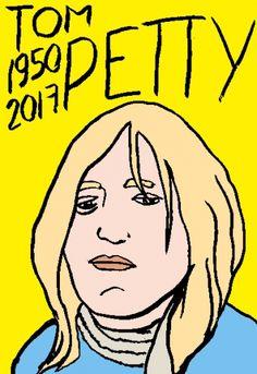 mort de Tom Petty, dessin, portrait, laurent jacquy,répertoire des macchabées célèbres,mort d'homme,