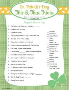 St. Patrick's Day Trivia. Printable St. Patrick's Day game.: