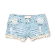 Upgrade your warm weather look with the classy style of the Almost Famous Crochet Hem denim shorts for women. These shorts are made with a stretch denim construction for comfort and mobility, with the added style of a light wash with distressed detailing