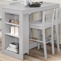 Jofran Tribeca Counter Height Table 3 Storage Shelves Grey at Dynamic Home Decor Kitchen Table With Storage, Small Kitchen Tables, Kitchen Ideas, Kitchen Nook, Cheap Kitchen, Small Kitchens, Glass Kitchen, Small Tables, Patio Bar Set