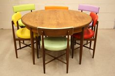re-upholstered 60s/70s teak dining chairs/table...TONS of retro furniture here.