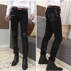 Korean Style Mens Black Leather Pants