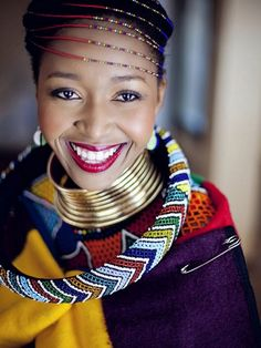 South AFrican Wedding Ndebele bride More on Culture. Join us as we enjoy Landi and Malibongwe's Ndebele South African wedding reception by As Sweet As Images. African Attire, African Wear, African Women, African Dress, Xhosa Attire, African Style, Zulu Women, African Clothes, South African Traditional Dresses