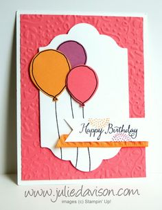 Julie's Stamping Spot -- Stampin' Up! Project Ideas by Julie Davison: In Color Sneak Peek: Balloon Celebration Birthday Card