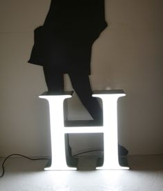 Character letter lamp. Character is a Finnish company that recycles old signs and logos into LED lamps.