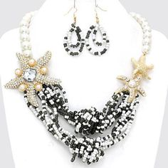 Chunky Pearl Starfish Charm Gold Necklace Earring Set Fashion Costume Jewelry