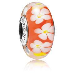 Pandora Charm Tropenblume 791624 Orange Sterling Silber Murano Glas