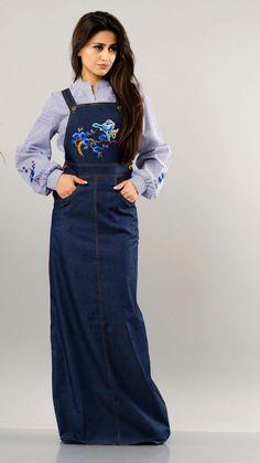 Jeans Semi Dress - Sakura - Navy Blue Semi Dresses, Jeans Size, Navy Blue, High Neck Dress, Fashion, Turtleneck Dress, Moda, Fashion Styles, Fashion Illustrations