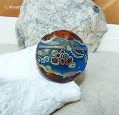 Glasperlenschmuck - Handgewickelte Glasperle - Linse mit Rand - - ein Designerstück von wendt-claudia bei DaWanda