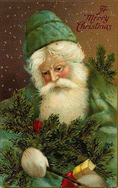 Vintage Santa / Father Christmas in Green Postcard Noel Christmas, Victorian Christmas, Father Christmas, Christmas Greetings, Xmas, Green Christmas, Christmas Postcards, Magical Christmas, Vintage Christmas Images