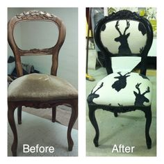Makeover Complete restoration on this chair . Stripped back , reprinted & fully restored springs etc .  The stag fabric is stunning on this !  One of my favourites .