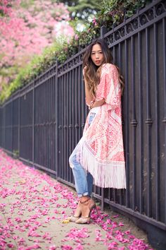 Magical Pink  Athena Procopiou Printed Silk Kimono  7 For All Mankind Josefina Boyfriend Jeans w/ Embellishment   Rachel Roy Gemma Heels
