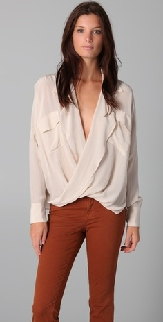 Funktional Fold Front Silk Blouse - StyleSays