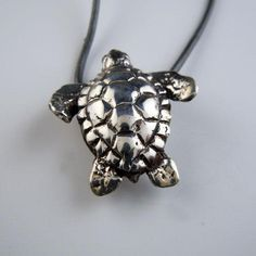 Turtle Necklace Sterling Silver Turtle Jewelry, Turtle Earrings, Animal Jewelry, Black Leather Bracelet, Leather Cord, Little Charmers, Pewter Color, A 17, Sterling Silver