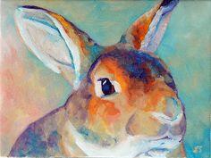 Original Mini Rex Rabbit Painting 6x8 by Sandra - mybunnies3 on Etsy