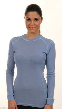 Hasyun Womens 100% Merino Wool LONG SLEEVE Base Layer All Sizes BLUE