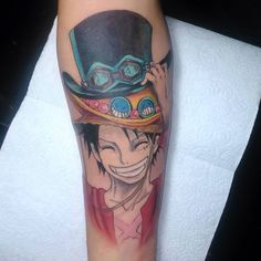 One Piece Tattoo Luffy with Ace and Sabo's hats