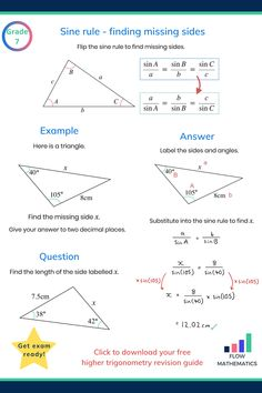 Using the sine rule to find missing sides summary. Add to your board to help revise it. Gcse Maths Revision, Maths Exam, Math Graphic Organizers, Math Notes, Physics And Mathematics, Vie Motivation, Math Vocabulary, Math Formulas, Math Work