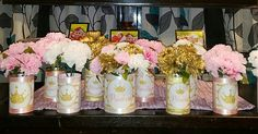 Princess Themed Pink Gold and White Baby Shower Table Centerpieces with Carnation Flowers Designs By Monee'