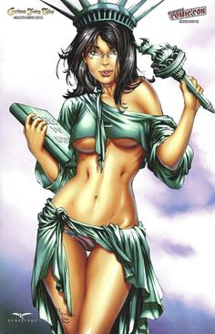 Statue of Liberty: sexy version ; )  by Eric Basaldua Penciller 2012-12-30 cover of Grimm Fairy Tales GZ 2012 NYCC (NY ComicCon) • depicted: dressed vers.