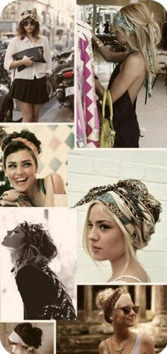 head scarfs - to fight summer frizz, etc. Wonder I'd I could pull these off at age 40?