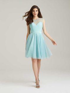 Illusion Cap Sleeve Pale Aqua Knee Length Chic A-Line Tulle Bridesmaid Dress Keyhole Back