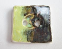 Square Porcelain Button Black and Green Abstract by GypsyBrunch