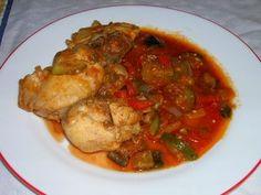 "Pollastre amb samfaina/ Pollo con ""samfaina""/ Chicken with ""samfaina""/ Frango com ""samfaina"""
